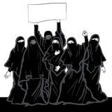 Muslim women protested on the demonstration. Middle Eastern wome Royalty Free Stock Images