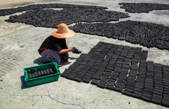 Muslim women put charcoal pack bar made from coconut shell on the floor dry in the  sun Stock Photo
