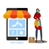Muslim Women shopping online by smartphone Business and e-commerce concept illustration flat design. Muslim Women shopping online by smartphone Business and e vector illustration