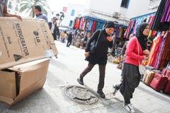 Muslim women walking in Tunis Royalty Free Stock Image