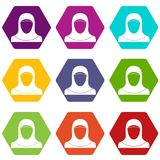 Muslim women wearing hijab icon set color hexahedron. Muslim women wearing hijab icon set many color hexahedron isolated on white vector illustration Stock Images