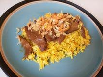 Muslim Yellow Rice with Chicken, Chicken Biryani with Green Chutney / It`s called Koa Mook Gai stock image