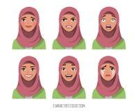Muslim young woman wearing hijab. Set of emotions stock illustration