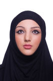 Muslim young woman wearing hijab. On white Royalty Free Stock Photo