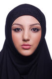 Muslim young woman wearing hijab. On white Royalty Free Stock Image