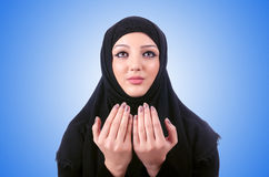 Muslim young woman wearing hijab on white Royalty Free Stock Images