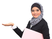 Muslimah business concept. Happy successful business muslim woman. Isolated over white background Stock Images