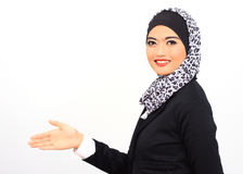 Muslimah business concept. Muslim business woman smile to the camera, isolated Royalty Free Stock Photography