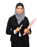 Muslimah business concept. Muslim business woman smile to the camera, isolated Stock Photos