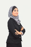 Muslimah business concept. Muslim business woman with text space isolated on white Stock Photography