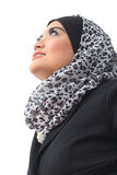 Muslimah business concept. Young asian muslim business woman in present action isolated on white Royalty Free Stock Images
