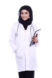 Muslimah doctor isolated in white background Stock Photo