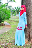 Muslimah lady wear blouse and hijab Stock Photography