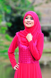 Muslimah lady wear blouse and hijab Royalty Free Stock Photography