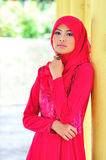 Muslimah lady wear blouse and hijab Royalty Free Stock Photos
