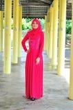 Muslimah lady wear blouse and hijab Stock Image