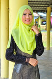 Muslimah lady wear blouse and hijab Stock Photo
