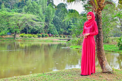Muslimah lady wear blouse and hijab Stock Image
