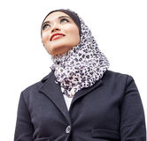 Muslimah portrait. Fashion portrait of young beautiful muslim woman with scarf isolated on white background Stock Photo