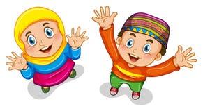 Muslimpojke och flicka stock illustrationer