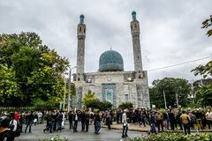 Muslims celebrate Eid al-Fitr near the Central mosque in St. Pet Stock Photos
