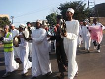 Muslims in celebratory mood in Africa. Muslims in a happy mood as they perform an Islamic song in Nairobi Kenya during Prophet Muhammad's (s.a.w.w) birth Royalty Free Stock Photo