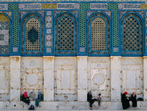 Muslims Chatting outside The Dome of the Rock Royalty Free Stock Photography