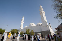 Muslims at the compound of Masjid Quba royalty free stock image