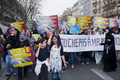 Muslims Demonstrating Against Islamophobie. Paris, France, Muslims Demonstrating Against Islamophobie, Mosquee de Paris Royalty Free Stock Photography