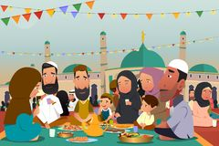 Muslims Eating Together During Ramadan Illustration Royalty Free Stock Photography