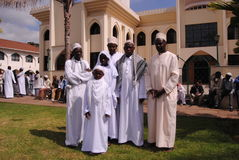 Muslims on eed day Nairobi Kenya. Muslims coming together on eed day in Nairobi Kenya in front of the mosque Royalty Free Stock Photo