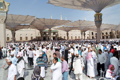 Muslims after Friday prayers  front of the Nabawi Mosque, Medina Stock Images