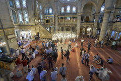 Muslims gathered for Friday prayers during Ramadan at Eyup Sulta. ISTANBUL, TURKEY - JULY 1: Eyup Sultan mosque muslims who pray, 1 July 2016 in Istanbul Turkey Stock Photo