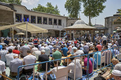 Muslims gathered for Friday prayers during Ramadan at Eyup Sulta Royalty Free Stock Photography