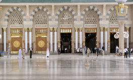 Muslims gathered for worship Nabawi Mosque, Medina, Saudi Arabia Royalty Free Stock Images