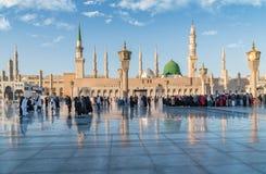 Muslims gathered for worship Nabawi Mosque, Medina, Saudi Arabia Stock Images