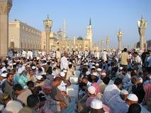 Muslims gathered for worship Nabawi Mosque, Medina, Saudi Arabia Royalty Free Stock Photography