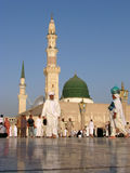 Muslims gathered for worship Nabawi Mosque, Medina, Saudi Arabia Royalty Free Stock Photography