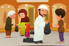 Muslims Giving Donations to Poor People Royalty Free Stock Photos