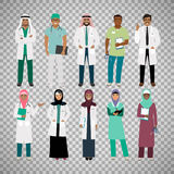 Muslims healthcare staff on transparent background. Muslims healthcare staff. Standing arab muslim physician doctor and arabian nurse vector isolated on Royalty Free Stock Photo