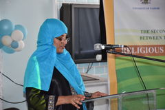 Muslims lady in a conference presentating. Muslims lady presents in a conference Nairobi Kenya Stock Photo
