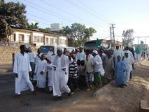Muslims march in an Islamic event in Africa. Muslims demonstrate their love of the Holy Prophet by staging a march in Nairobi Kenya Royalty Free Stock Image