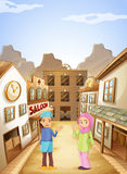 Muslims near the saloon bar royalty free illustration