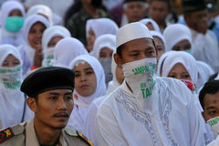 Muslims parade. Thousands of Muslims perform parade to commemorate religious holidays in the city of Solo, Central Java, Indonesia Royalty Free Stock Photography