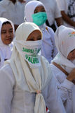 Muslims parade. Thousands of Muslims perform parade to commemorate religious holidays in the city of Solo, Central Java, Indonesia Royalty Free Stock Photo