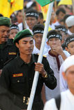 Muslims parade. Thousands of Muslims perform parade to commemorate religious holidays in the city of Solo, Central Java, Indonesia Royalty Free Stock Image