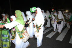 Muslims parade. Muslims were marching in the evening to commemorate religious holidays in the city of Solo, Central Java, Indonesia Stock Images