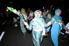 Muslims parade. Muslims were marching in the evening to commemorate religious holidays in the city of Solo, Central Java, Indonesia Royalty Free Stock Image