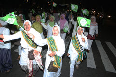 Muslims parade. Muslims were marching in the evening to commemorate religious holidays in the city of Solo, Central Java, Indonesia Stock Image