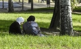 Muslims in the park stock photo